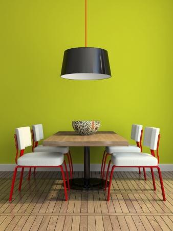Een deel van de moderne eetkamer met groene muur illustratie
