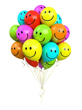 bos van kleurrijke ballonnen lachend