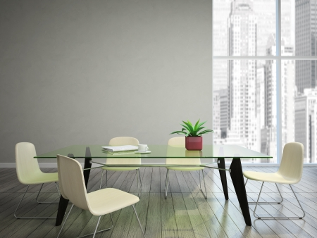 modern interior room: dining room wish tabel and chairs