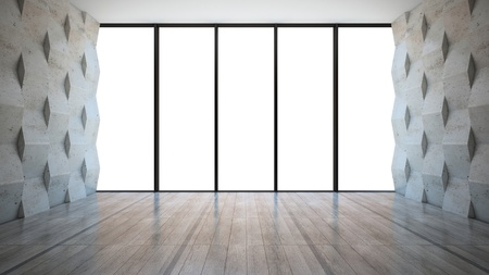 window view: Empty room with concrete wall panels Stock Photo