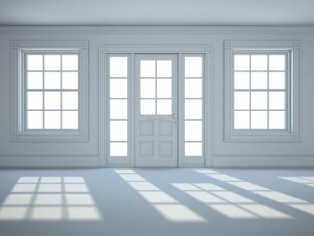 白い色と空の部屋 写真素材