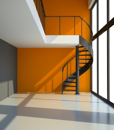 Empty room with staircase and orange wall in waiting for tenants illustration Stock Illustration - 19451626