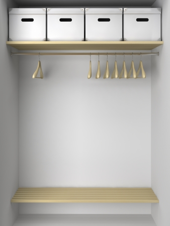 hangers: Empty wardrobe with hangers and boxes illustration