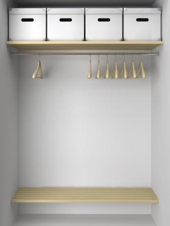 Lege kast met hangers en dozen illustratie