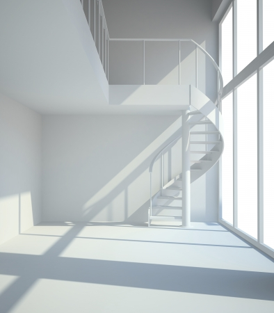 Empty white room with staircasel in waiting for tenants illustration Stock Photo