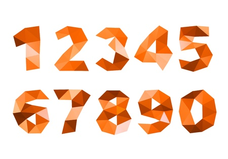 4 7: orange crumpled numerals isolated on white background