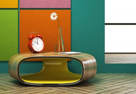 furnishings: Part of the modern interior with a red alarm clock Stock Photo
