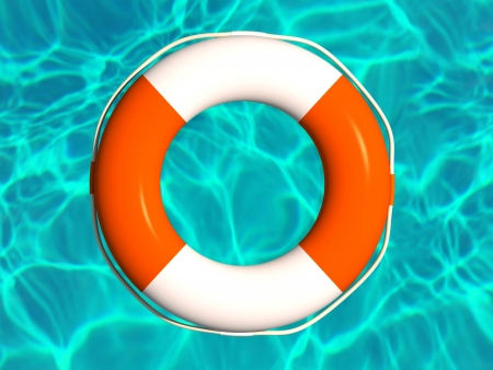 life bouy: Red and white lifebuoy in water illustration
