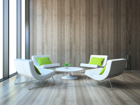 furnishing: Modern interior with four armchairs and coffe table 3d rendering Stock Photo