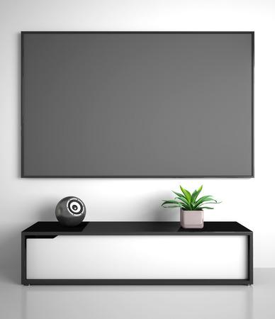 テレビ付きのモダンなインテリアの一部