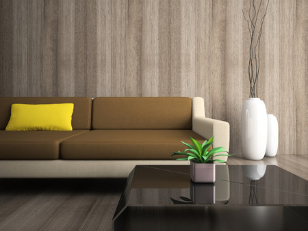 Part of modern interior with yellow pillow photo