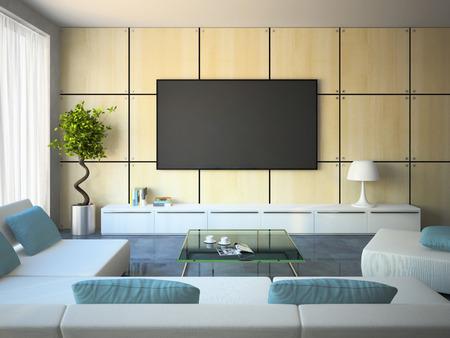 Interior moderno con sofás blancos y almohadas azules 3D