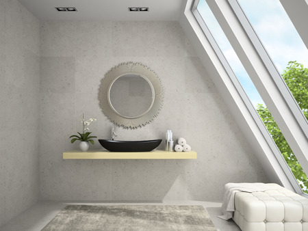 orchid house: Interior of mansard bathroom with round mirror 3D rendering