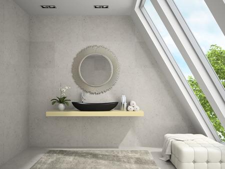 mansard: Interior of mansard bathroom with round mirror 3D rendering