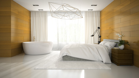 Interior of modern design bedroom with bathtub 3D rendering