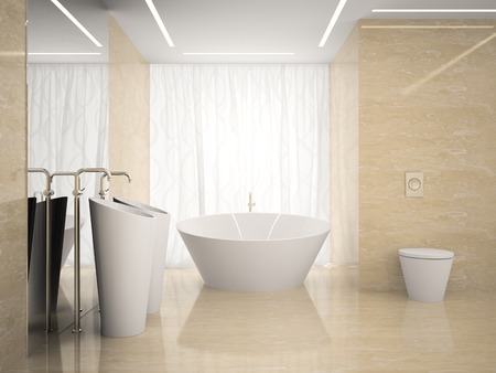 domestic bathroom: Interior of the modern design  bedroom in marble 3D rendering