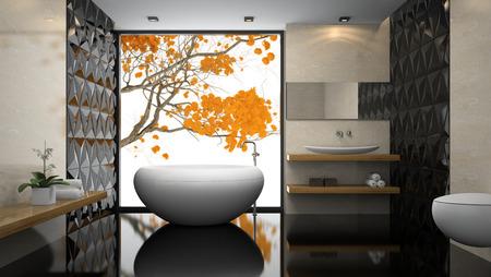black floor: Interior of  stylish bathroom with black floor 3D rendering Stock Photo