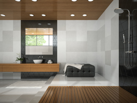 Interior of stylish bathroom with wooden ceiling 3D rendering