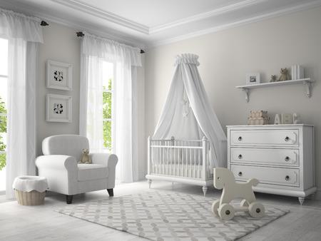 嬰兒: 經典兒童房白色的3D渲染 版權商用圖片