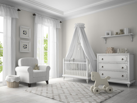 child bedroom: Classic children room white color 3D rendering