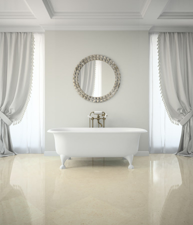classic house: Interior of classic bathroom with curtains round mirror 3D rendering Stock Photo