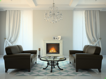 Classic style room with fireplace and sofas 3D rendering Stock Photo