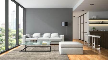 Interior of the modern design  loft  with black lampl 3D rendering