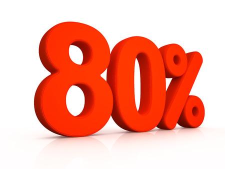 simbol: eighty percent simbol on white background 3D