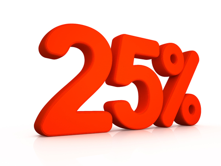 twenty five percent simbol on white background 3D Stock Photo
