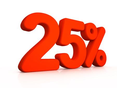twenty five: twenty five percent simbol on white background 3D Stock Photo