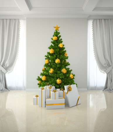Christmas tree winh gold decor in classic style room 3D rendering