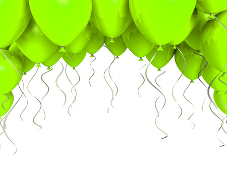 ballons: Green party ballons on white background Stock Photo