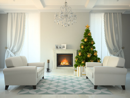 Classic style room with fireplace and christmas tree 3D rendering Stock Photo