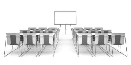 Classroom isolated on white background 3D renderimg
