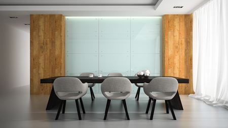 interior room: Modern interior of meeting room 3D rendering Stock Photo