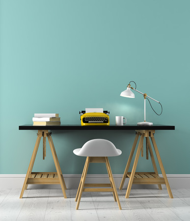 Part 2 of interior with typewriter on the table 3D rendering Stock Photo