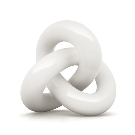 reverberation: White infinity knot isolated on white background