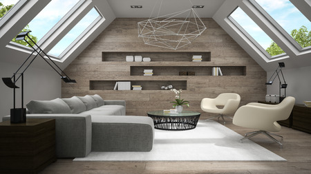 Interior of stylish mansard room 3D rendering Stock Photo