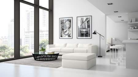 Interior of the modern design  loft  white color 3D rendering 스톡 콘텐츠