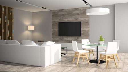 Modern interior with black sofa 3D rendering Standard-Bild