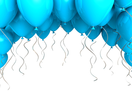 Blue party ballons on white background