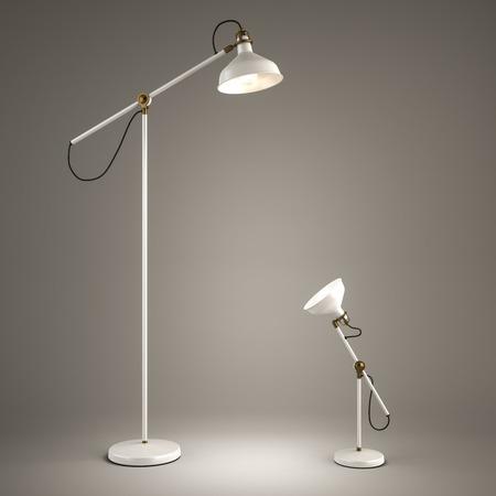 lámpara de pie y lámpara de escritorio en el fondo gris 3D