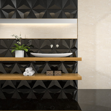 Part of interior of  stylish bathroom 3D rendering Stock Photo