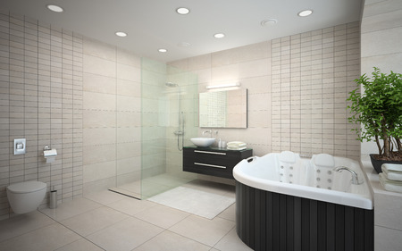 bathroom design: Interior of the modern design bedroom with bathtub 3D rendering