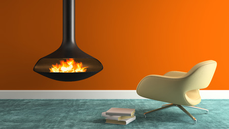 Part of interior with fireplace and modern armchair 3D rendering Stock Photo