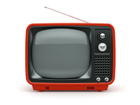 Red retro TV on white background
