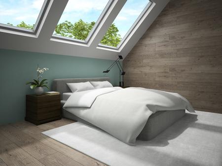 mansard: Interior of mansard badroom with blue wall 3D rendering