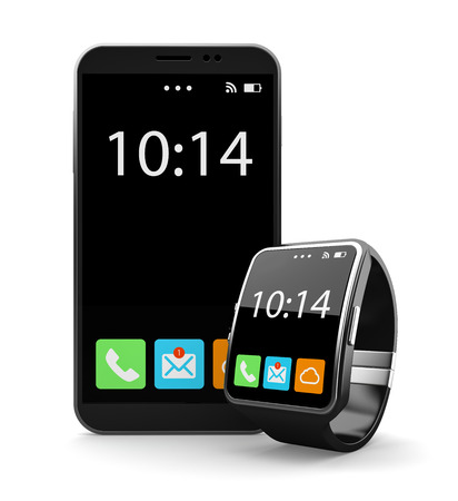 Black smartohone and smart watch on white background Stock Photo