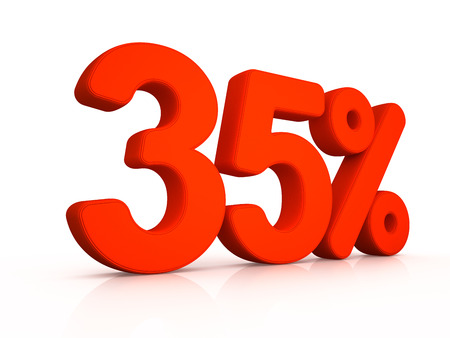 thirty five percent simbol on white background 3D Stock Photo