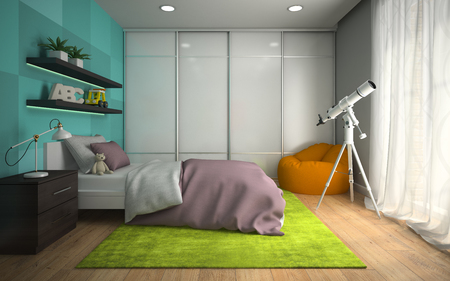 Interior of modern childroom  with blue wall 3D rendering